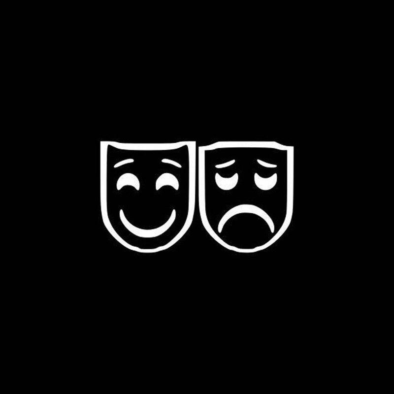 Черные/Серебристые театральные маски виниловая наклейка на заднее лобовое стекло двери водонепроницаемые горячие продажи наклейки на окн...