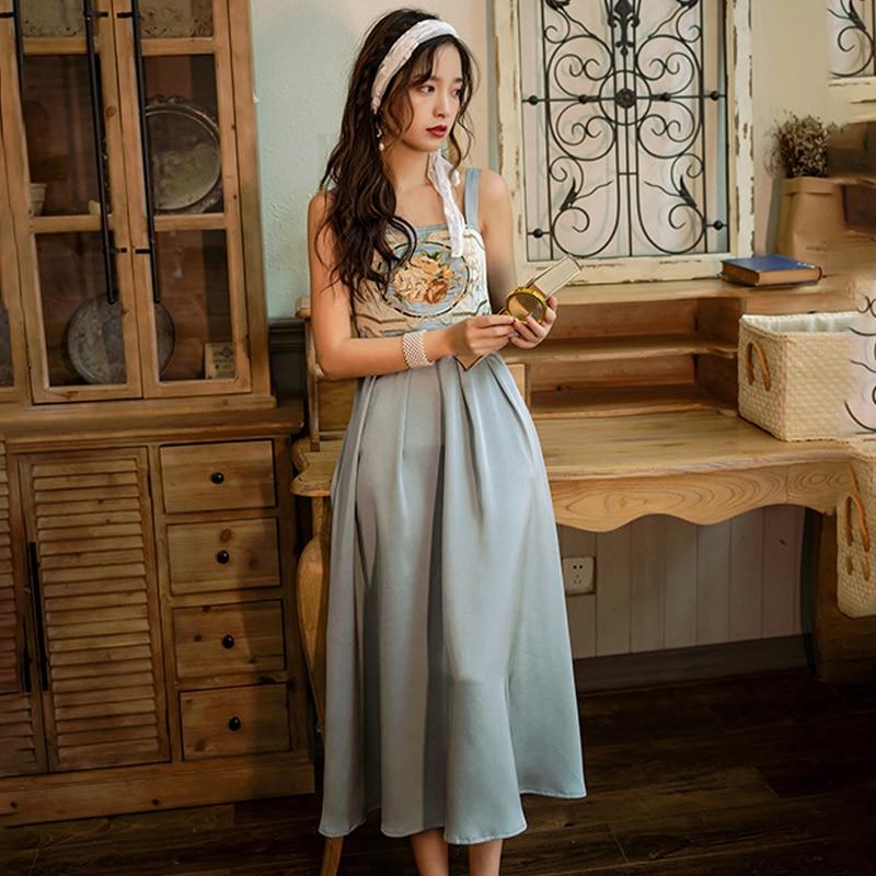 Verão novo estilo coreano moda feminina coreano retro bordado suspender vestido boêmio seaside férias vestido de comprimento médio