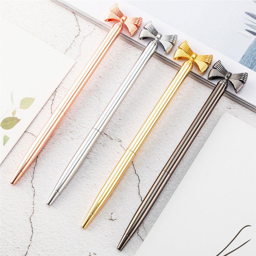 Bolígrafos metálicos creativos para niñas, papelería, bonito bolígrafo de Metal con lazo, bolígrafo de publicidad, papelería escolar y de oficina