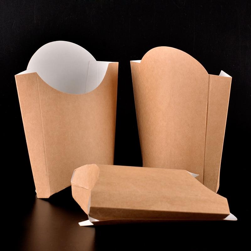 Moda Kraft papel patatas fritas taza desechable alas de pollo frito palomitas caja taza fiesta contenedor para postres 100 unids/lote SK727