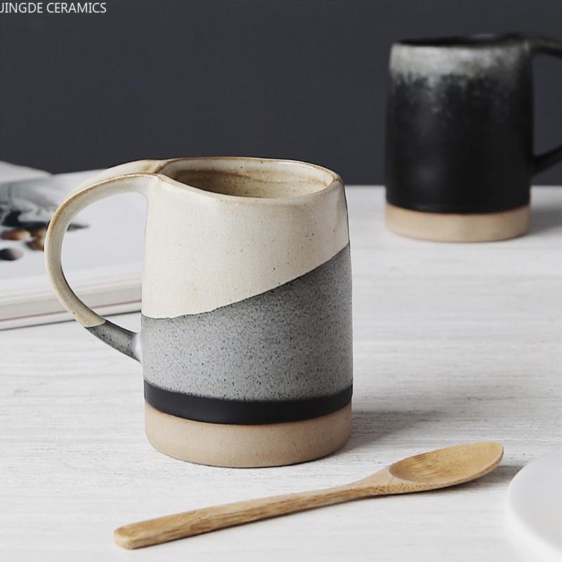 1 قطعة الأزواج النمط الياباني كوب ماء السيراميك بعد الظهر الشاي فنجان القهوة الحجري الحليب أكواب زبادي أدوات المائدة المنزلية لوازم