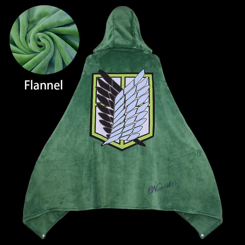 عباءة على شكل بطانية من Titan موديل Shingeki لا كيوجن زي تنكري لغطاء رأس من الفلانيل
