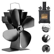 Hogar de aleación de aluminio 4 aspas ventilador de estufa con energía térmica leña quemador de leña soplador de chimenea familia ventilador de estufa con energía térmica