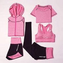 5 sztuk/zestaw strój sportowy dres damski kostium na jogę kobiet strój do fitnessu odzież sportowa legginsy gimnastyczne stanik sportowy panie odzież sportowa