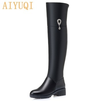 AIYUQI Thigh High Genuine leather Boots Women 2021 New Winter Women Long Boots Large Size Wool Warm Over The Knee Boots Ladies