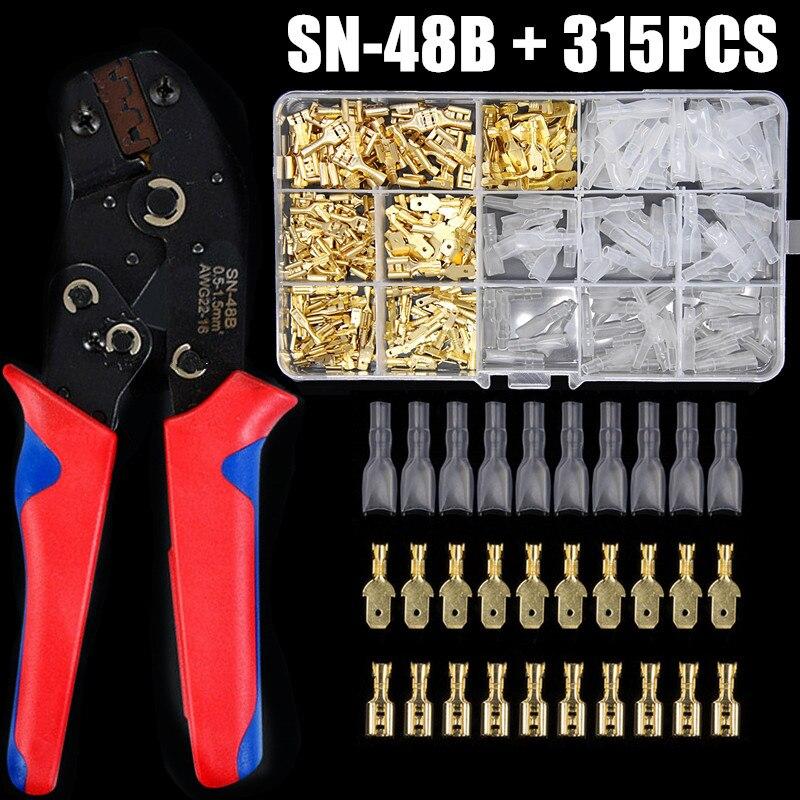 315 قطعة المجرف تجعيد محطة 2.8/4.8/6.3 مللي متر العالمي ختم الربيع التوصيل سلك كهربائي معزول لصق موصلات SN48B ذو طيات عدة