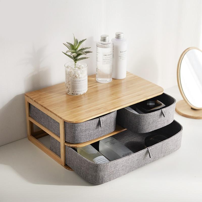 Caixa de armazenamento de madeira organizador cosmético pano de bambu escritório desktop armazenamento caixão maquiagem recipiente de armazenamento casa organizador sundry