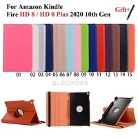 for fire hd 8 hd plus tablet case 360 degree rotating stand 10th generation 2020 release auto sleep wake protective coverstylus