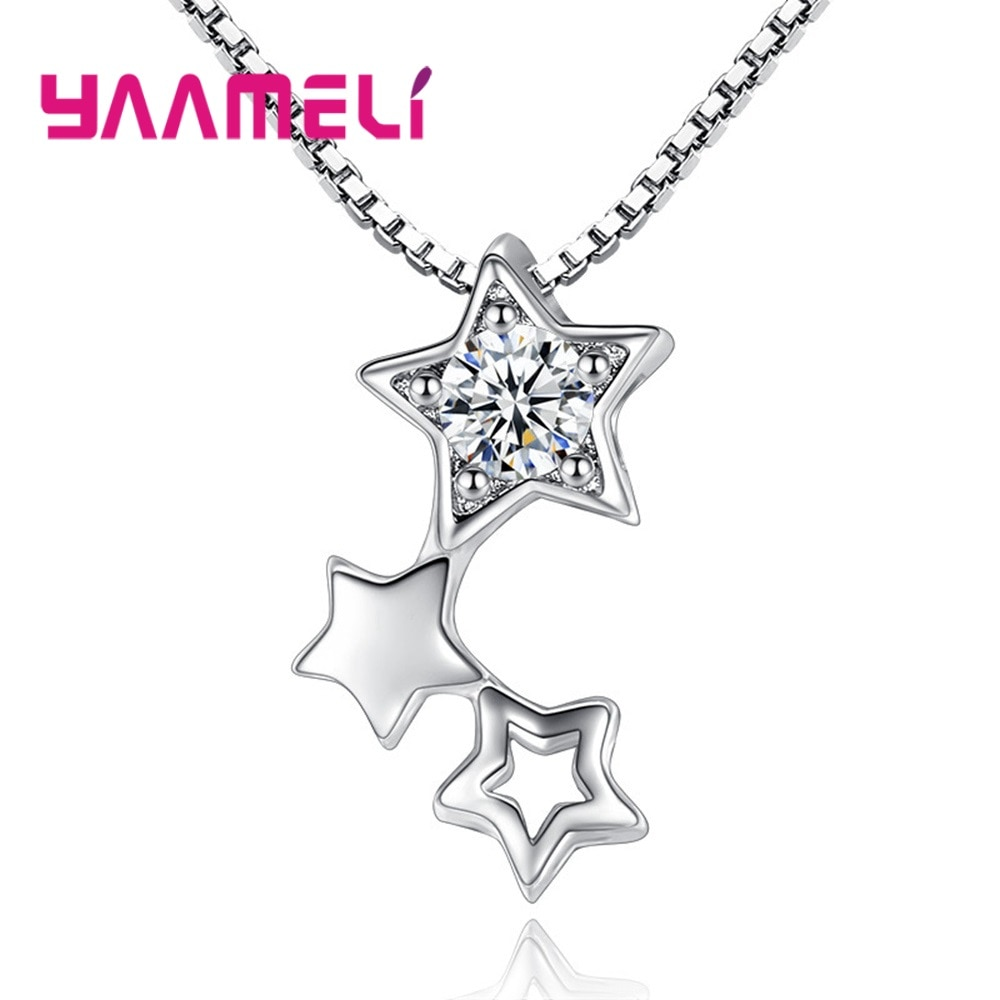 Top Seller 925 Sterling Silver Jewelry Fantastic Twinkling Stars Clear Cubic Zircon Stone Unique Women Choker Necklaces