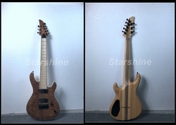 E-G2 de alta qualidade 8 cordas guitarra elétrica pescoço através do corpo acolchoado maple topo folheado bordo fingerboard cordas através corpo cinzas