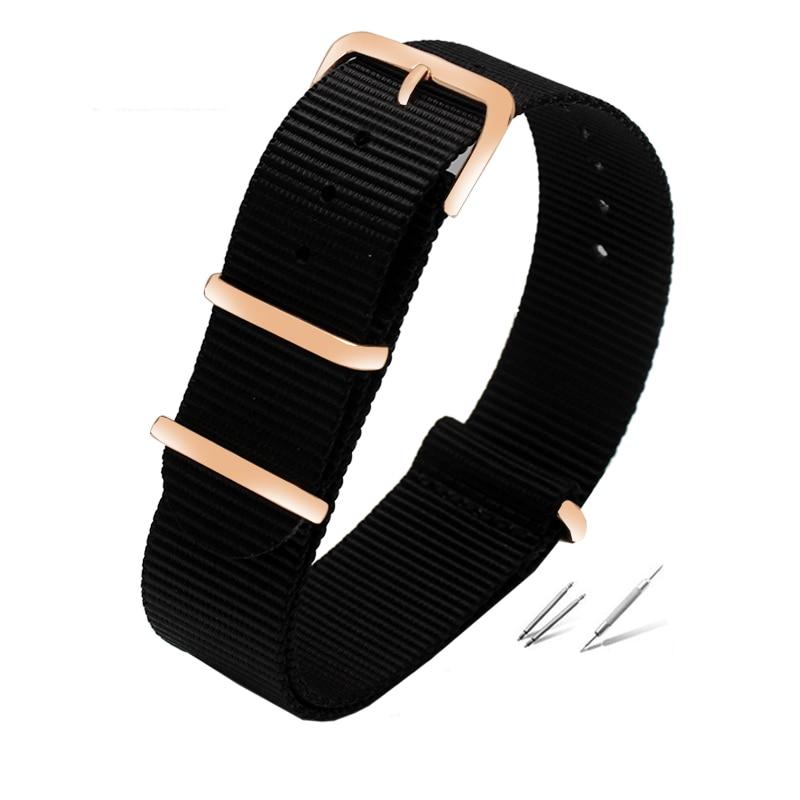 colorful nylon watchband with rose gold rings nato nylon straps perlon watch strap fashion bracelet for men & women