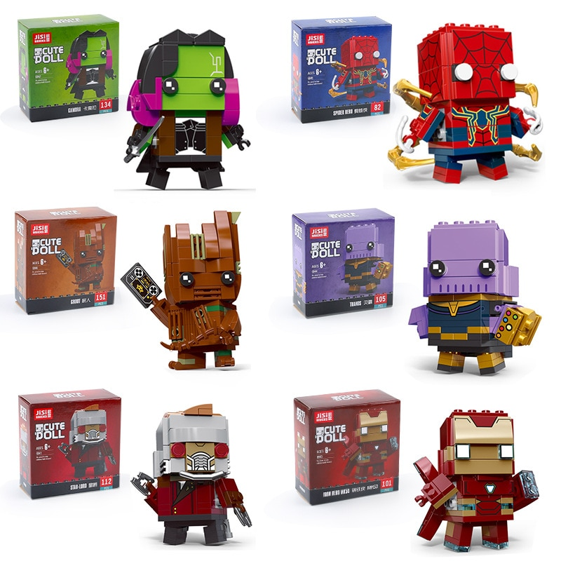 Q Version Super Heroes Avengers Boys Building Blocks Toys For Iron Man Tyrant Spiderman Building Blocks Kids Birthday Gifts
