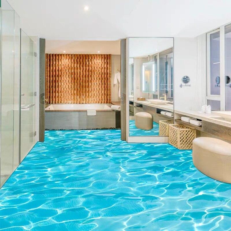 Respetuoso del medio ambiente papel pintado para suelo con foto 3D estéreo mar onda de agua mural para piso de PVC auto-adhesivo lavado impermeable 3D de papel de pared