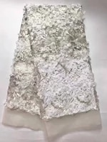 french nigerian lace fabrics high quality latest white dress lace fabric embroidered net fabric with beads alc j1106
