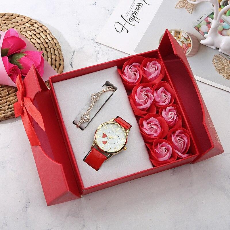 Reloj de pulsera de cuarzo de cuero informal con flores romanas para mujer, reloj de cuarzo, regalo, reloj de pulsera, caja de regalo de Año Nuevo de Navidad