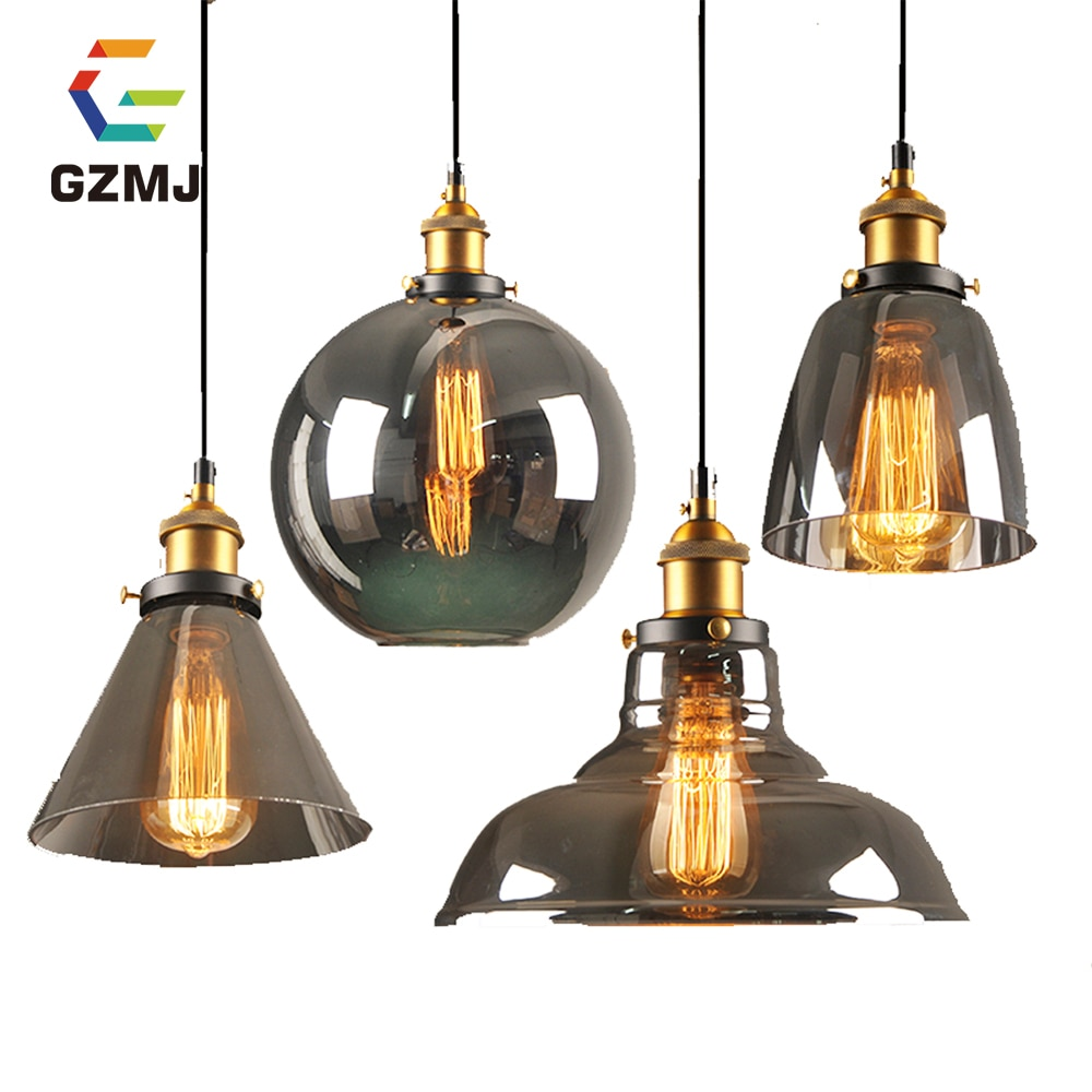GZMJ Loft Bar Vintage Hang Lamp LED Light Pendant Lights Glass Rope Industrial Smoky Grey Colgante Luster Kitchen Garden