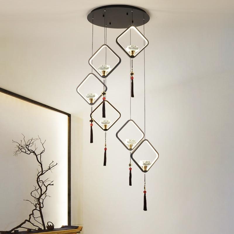 الصينية دوبلكس الدرج الثريا جوفاء الطابق غرفة المعيشة ثريا كبيرة غرفة الطعام بار غرفة الطعام الصينية الرياح مصباح