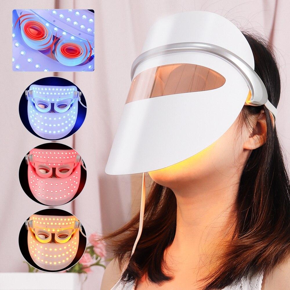 USB قناع الوجه LED LED الفوتون العلاج جهاز الجمال المضادة للتجاعيد العناية ببشرة العين مُدلك بالاهتزاز شد الوجه مكافحة حب الشباب تبييض