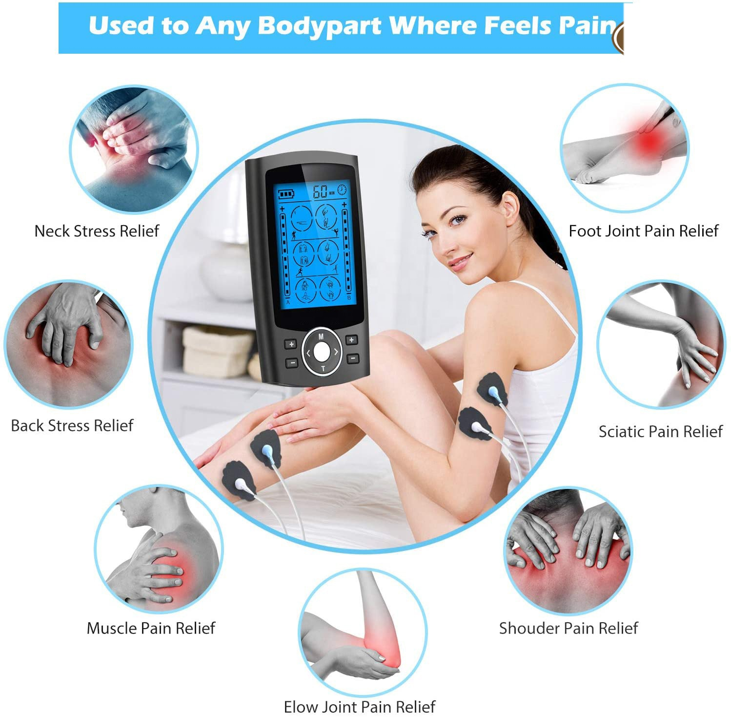 Wireless Tens Unit And Muscle Stimulator For Legs Low Back Pain Massager With Heat Ear Clips Power Neck Feet Pulse Machine enlarge