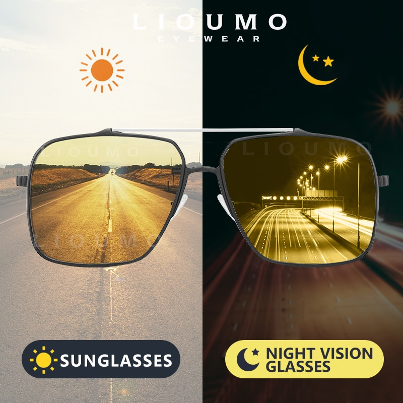 Мужские и женские фотохромные очки LIOUMO, большие солнцезащитные очки из алюминиево-магниевого сплава с поляризационными линзами для ночног...