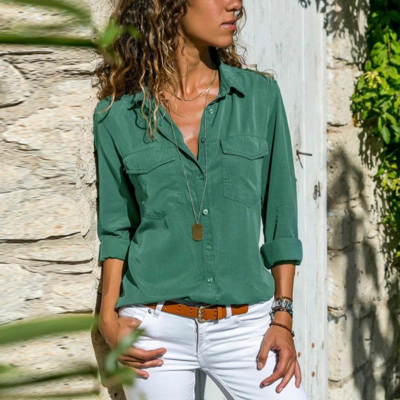 Laamei Lange Mouw Basic Shirts Vrouwen Voor Herfst 2020 Solid Cool Streetwear V-hals Sexy Tops En Blouses Turn Down kraag