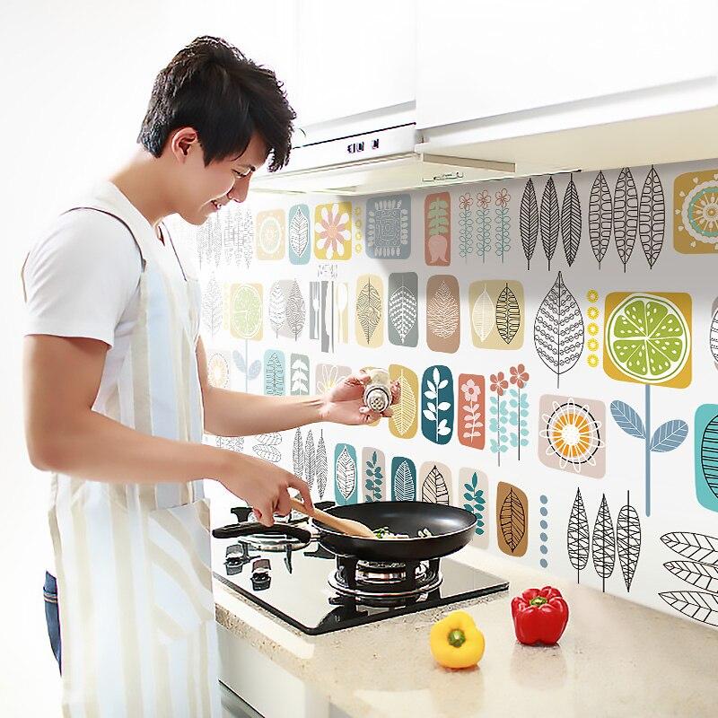 زيت مقاوم للماء واقية من زيت المطبخ ملصقا الألومنيوم ذاتية اللصق زيت المطبخ ملصق خلفيات ذاتية اللصق ديكور المنزل BD50OS