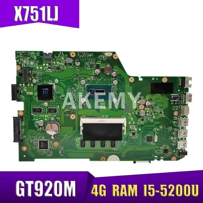 X751LJ GT920M 4G-RAM/ I5-5200U اللوحة REV 2.3 ل ASUS X751LX R752LA R752LD X751LN X751LD X751LJ A751L اللوحة المحمول