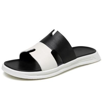 Men Genuine Leather Flip Flops Summer Beach Sandals Outdoor Slippers Luxury Mens Slides Black White Slipper Male Designers Shoes