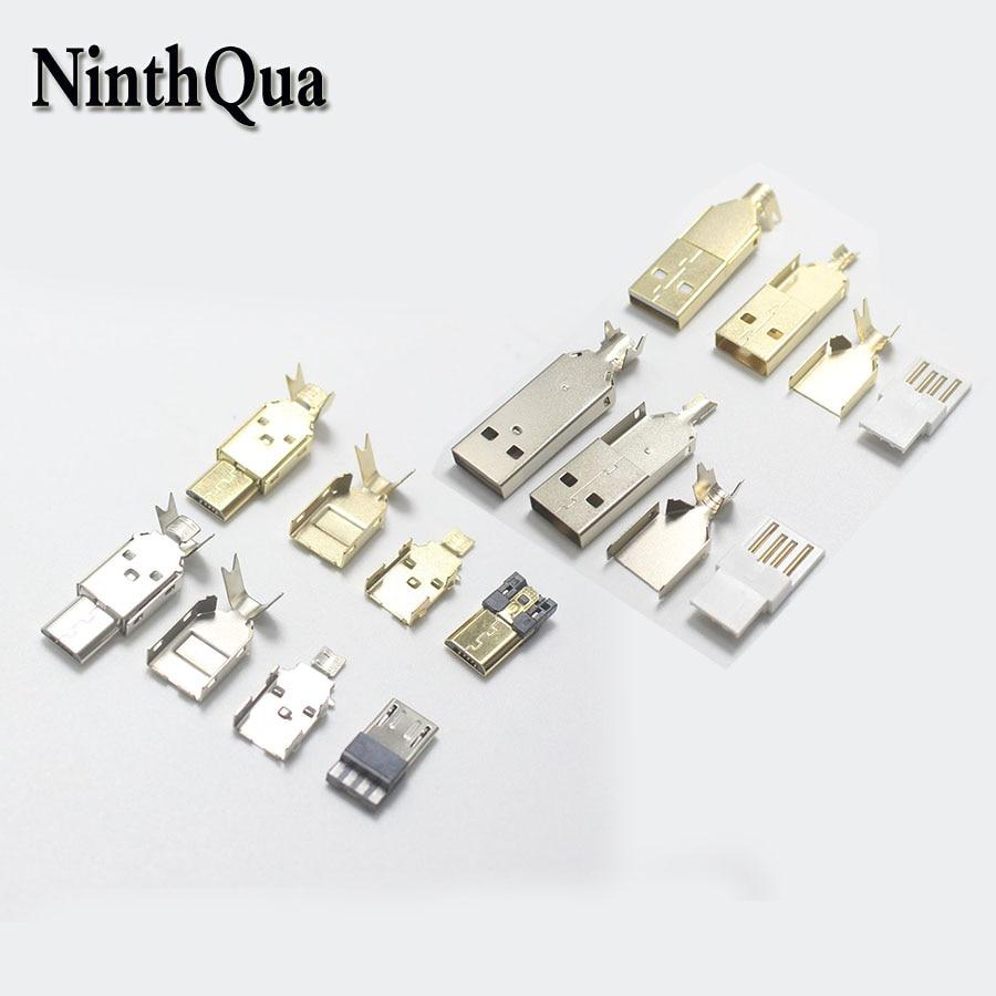 4Pin 1 definir Micro USB/USB 2.0 conector Macho plug Níquel Banhado A Ouro solda linha OTG interface de Dados DIY acessórios cabo de dados