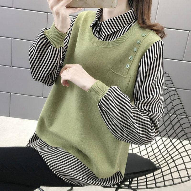 Jersey de cuello de camisa de dos piezas falso párr mujer otoño...