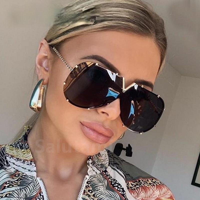 2021 New Fashion One Piece Shield Sunglasses For Women Vintage Oversized Paw Sun Glasses Men Uv400 H