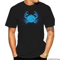 blue crab cotton pattern mens t shirt