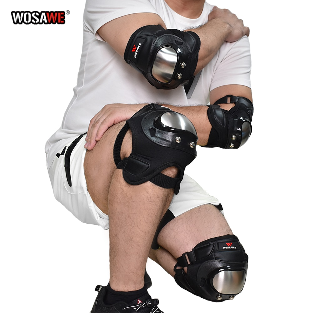 WOSAWE Motorcycle kneepads Stainless Steel Elbow Knee Protector Protective Knee Guards Motocross Roller Skating Protective Gear wosawe motorcycle elbow knee protector knee protective gear cycling skating snowboarding motocoss knee elbow guards pads