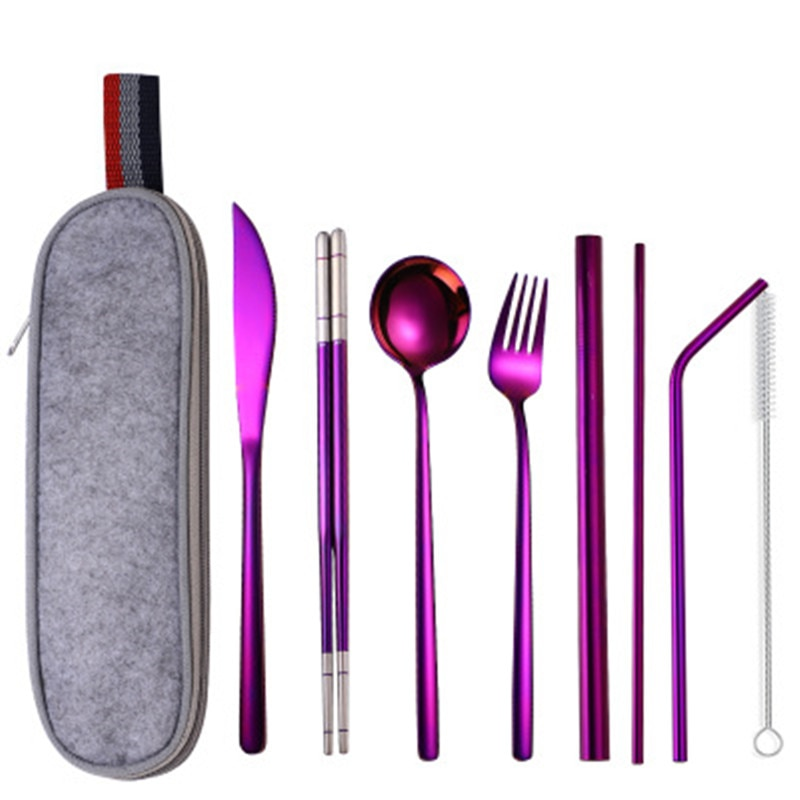 5/9pcs Dinnerware Set Stainless Steel Gold Purple Chopsticks Straw Knife Fork Spoon Cutlery Western Food Camping Tableware Bag