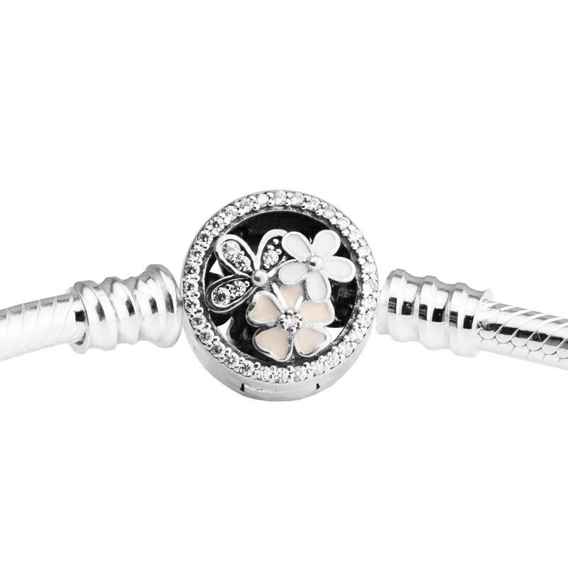 Поэтические браслеты с цветами, смешанные эмалевые и прозрачные CZ 925 серебряные браслеты для DIY, женские модные браслеты для изготовления юв...