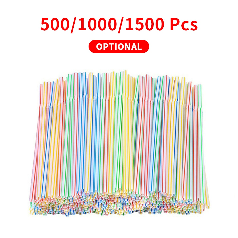1 Lot Disposable Plastic Drinking Straws Household Kitchen Multi-Colored Striped Bendable Straws Party Supplies Color Random