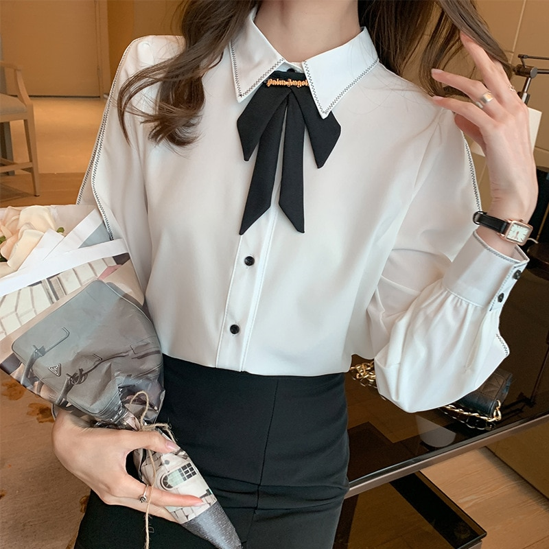 Yg Brand Fashion Women's 2021 Spring New Chiffon Shirt Women's Bow Top Design Small Temperament Long