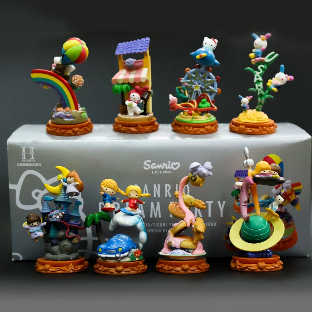 Figura de acción muñeca juguetes lindo gato Hello Kitty Oceans Flying Travel Scene Park dibujos animados escritorio ornamento decoración figuritas