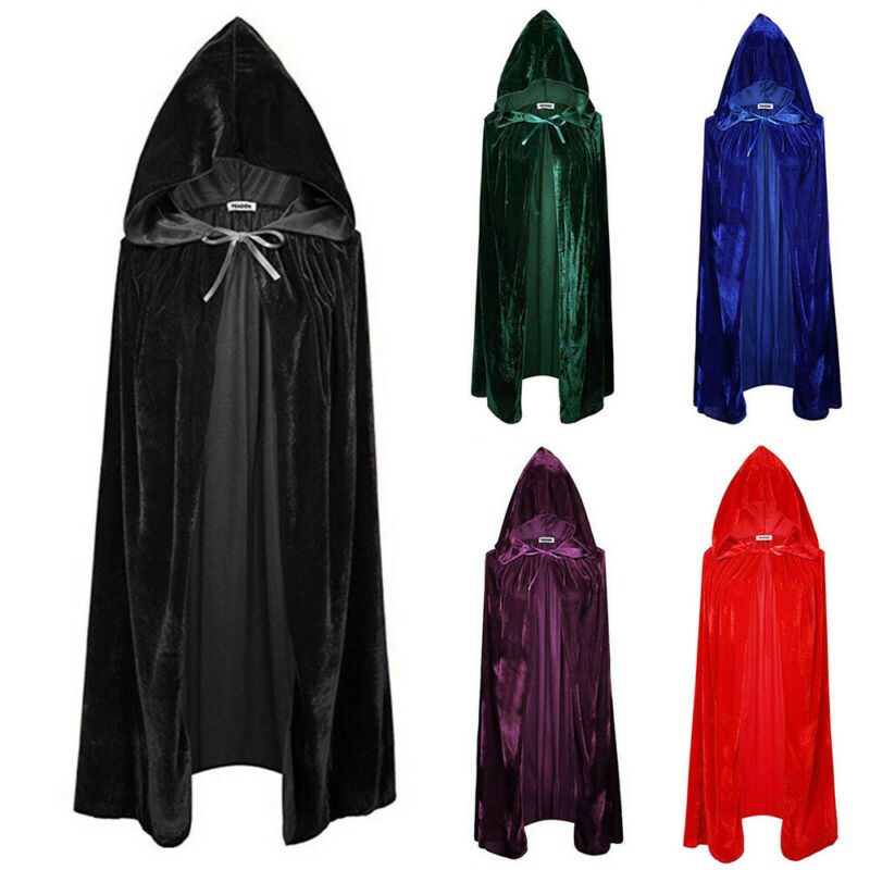 Adult Halloween Velvet Cloak Cape Hooded Medieval Costume Witch Wicca Vampire UK  Black Cape Hooded Cape Lace-Up unisex halloween christmas cloak cape adult men women hooded long cloak black costume dress coats death wizard cosplay costume