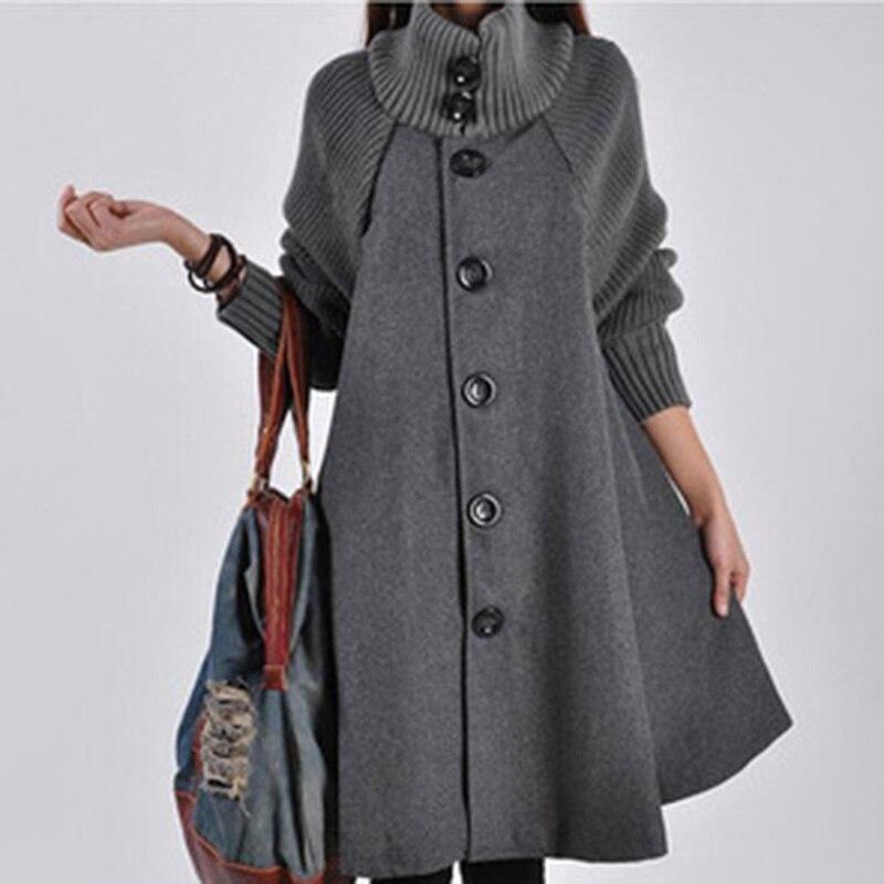 Bigsweety invierno cálido cortavientos mujeres abrigo de lana abrigo de punto de manga larga gabardina ropa de mujer prendas de vestir de un solo pecho