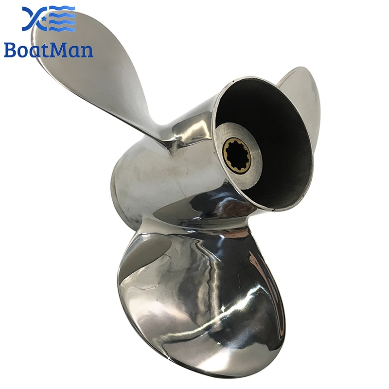 Outboard Propeller 9 1/4x9 For Suzuki Engine 8HP 9.9HP 15HP 20HP Stainless steel 10 splines Outlet Boat Parts SS9-1400-009 enlarge