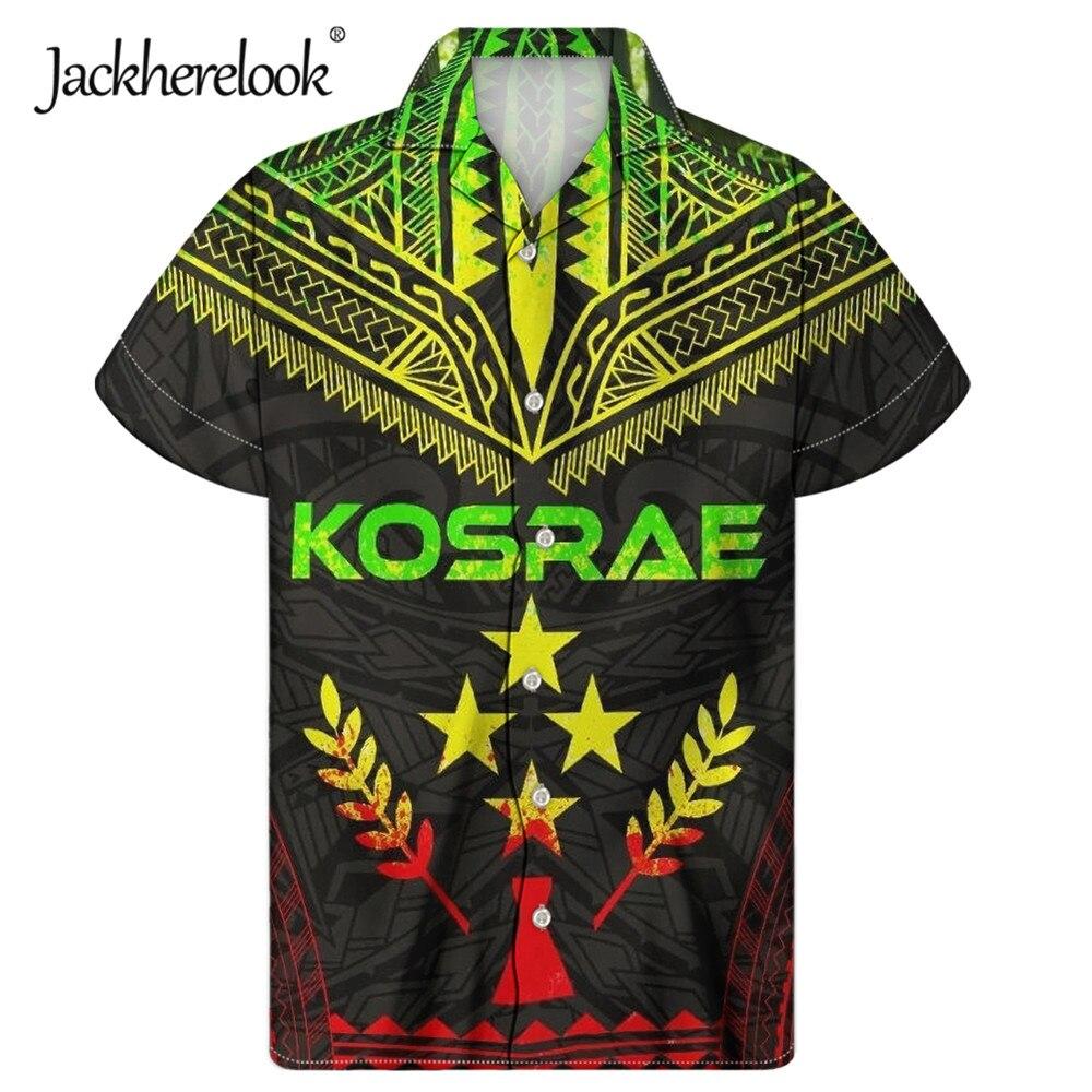 Jackherelook-Camisa hawaiana cubana con estampado samoano para Hombre, Camisa de talla grande,...