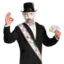 Monopole homme masque avec chapeau adulte déguisement ensemble Halloween masques blanc barbe vieil homme noir Mr Robot masque