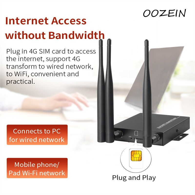 4G LTE WiFi Wireless Router 300Mbps CAT6 High Speed Industry CPE with SIM Card Slot and 3pcs External Antennas OOZEIN