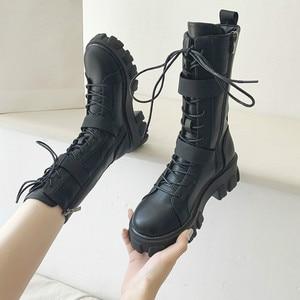Women Mid-Calf Boots Autumn Winter Punk Genuine Leather Boots women Zipper Cross-tied Riding Boots High Heels Shoes Woman