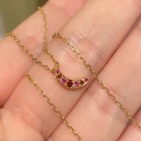 ccfjoyas 925 sterling silver gold plated moon necklace for women european simple inlaid ruby mini pendant clavicle chain