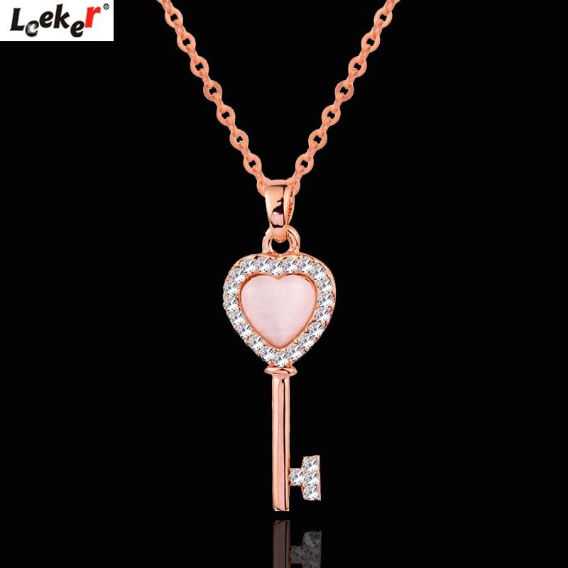 LEEKER llave encantadora corazón colgante collar Rosa Cadena de Color dorado pequeño cristal Rosa ópalo gargantilla Collar para mujer joyería 608 LK8