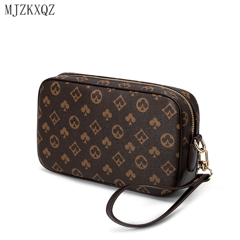 Mjzkxqz Vintage Men Clutch Bag Wrist Leather Classical Floral Clutch Handbags Phone Pocket Zipper Pu