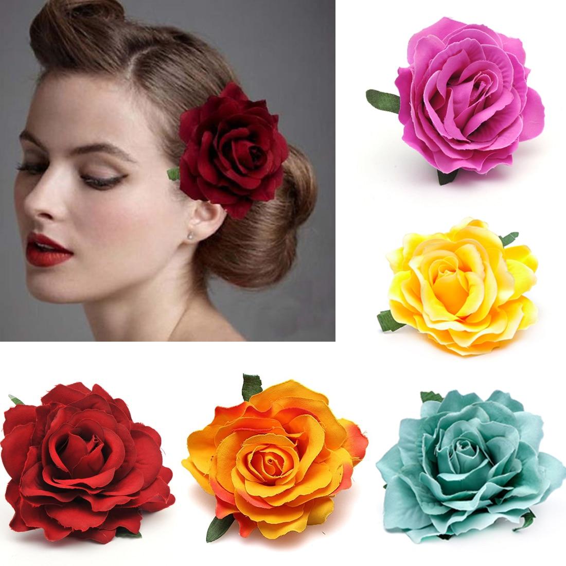 1 PC Rose Artificial Flower Hair Clip Solid Corsage Bridal Wedding Party Brooch Headwear Bohemian Wo