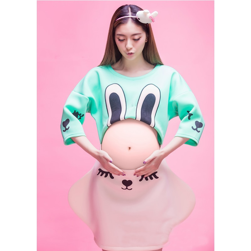 Maternity Clothes Pregnancy Gowns For Photo Shoot Fashion Mommy Cartoon Rabbit Clothes Maternity New Photography Props enlarge